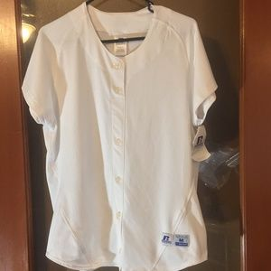 NWT Russell white baseball button jersey unisex